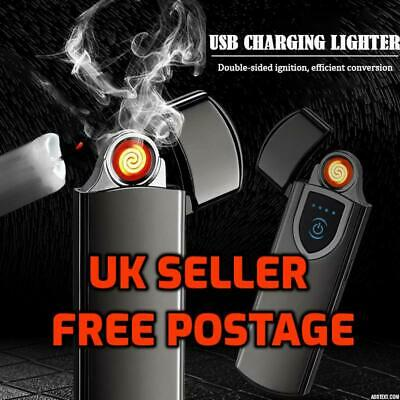 USB Lighter Rechargeable Electric Touch Sensor Metal Cigarette Windproof Thin Uk • 4.99£