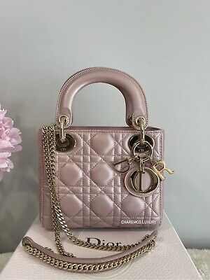 1000% AUTH 🌸 LADY DIOR 🌸 MINI PEARLY PINK LOTUS Light Gold HW BAG • 2,617.39£