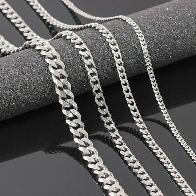 Mens Womens Stainless Steel Silver Curb Link Chain Necklace 16-28inches 3.5/5/7m • 4.02£