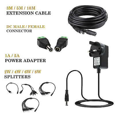 12V 1A 2A AC/DC UK Power Supply Adapter Safety Charger For LED Strip CCTV Camera • 5.85£