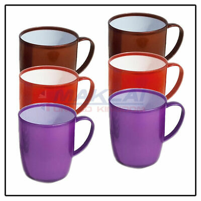 £9.99 • Buy 6 X COLOURFUL PLASTIC MUGS Reusable Drinking Cups Tea Coffee Camping Picnic Kids
