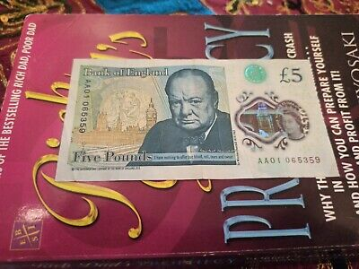 Aa01 New Five Pound Note Extremely Low Serial Number Polymer Note Aa01 065359 • 35£