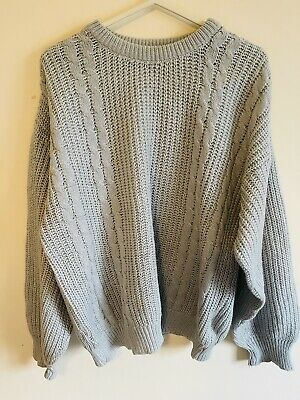 £12.90 • Buy Vintage Wool Slouchy Jumper Cable Knit Pale Pastel Blue Grey S