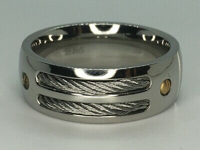 $22.99 • Buy Men's Stainless Steel Double Cable Ring SR3