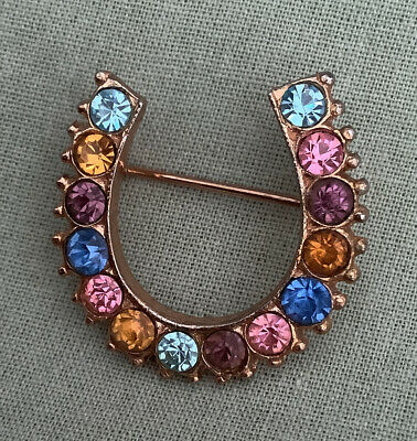 Sparkly Vintage Lucky Horseshoe Pin Brooch Multi Colour Stones • 0.99£