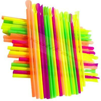 10 Spoon Straws Slush Smoothies Milk Shakes Snow Cones Neon Scoop Straw Mixer UK • 1.75£