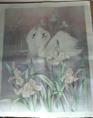 Finished Cross Stitch Picture Of Swans On A Lake • 10£