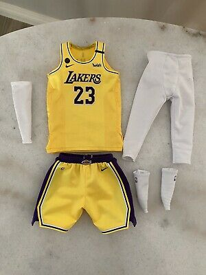 $100 • Buy 1/6 OFFICIAL ENTERBAY Real Masterpiece NBA LAKERS LeBron James JERSEY SET ONLY