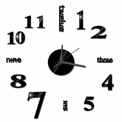 DIY Wall Clock Frameless Mirror Wall Clock Large Mute Wall Stickers For D8W8 • 4.79£