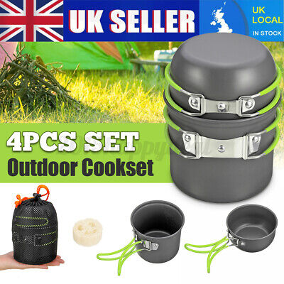 Cook Set Portable Camping Cookware Kit Outdoor Picnic Hiking Cooking Equipment • 12.78£