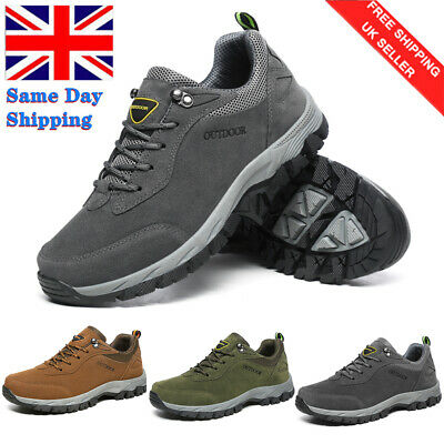 Mens Hiking Boots New Walking Ankle Wide Fit Trail Trekking Trainers Shoes Size • 8.99£