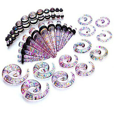 36Pcs Ear Gauges Kit Ear Stretching Acrylic Tunnel Plugs Tapers Piecing Set • 7.17£