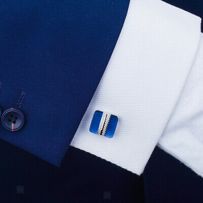 1 Pair Classic Blue Opal Square Cufflinks For Men Women Shirts Wedding Party • 4.99£