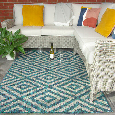 £24.95 • Buy Outdoor Plastic Rugs Teal Trellis Geometric Extra Large Woven Mat For Garden Rug