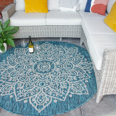 Extra Large Round Circle Flatweave Outdoor Rugs   Teal Blue Floral Plastic Mats • 49.95£