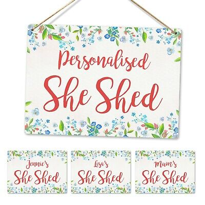 £8.89 • Buy Metal Wall Sign - Personalised Floral She Shed Plaque