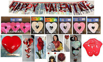 £4.99 • Buy Valentines Decorations Heart Garlands Glitter Hearts Bunting Banner Roses