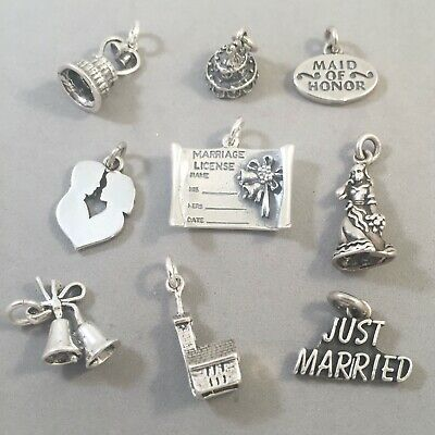 $8.88 • Buy .925 Sterling Silver SALE WEDDING CHARMS Bride Marriage NEW Pendant 925 SL01