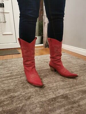 Red Pepe Jeans Cowboy Western Boots Leather Size 6/39 • 15£