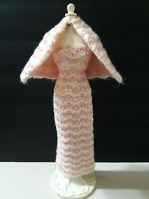 $ CDN16.57 • Buy VINTAGE BARBIE Dress Gown Pink White Sequined Crochet Knit * BEAUTIFUL!