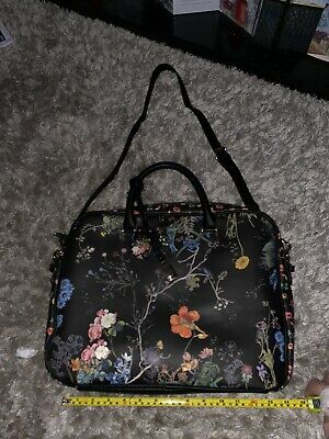 Parfois Briefcase Shoulder Bag Work Travel Laptop In Bkack With Flowers • 10£