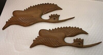 £18.10 • Buy Vintage Flying Birds Wall Hanging Hand Carved Wood Set Of 2