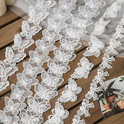 1 Yard Butterfly Embroidered Lace Trim Ribbon Pearl Beaded DIY Sewing Applique • 2.60£