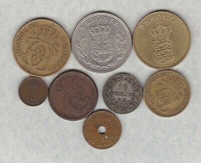Eight Denmark Coins 1856 To 1968 In Very Fine Or Better Condition. • 8.99£