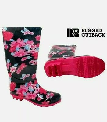 £6.80 • Buy Rugged Outback Girls Pink Navy Flower Wellies Wellington Welly Womens Shoes Uk 4