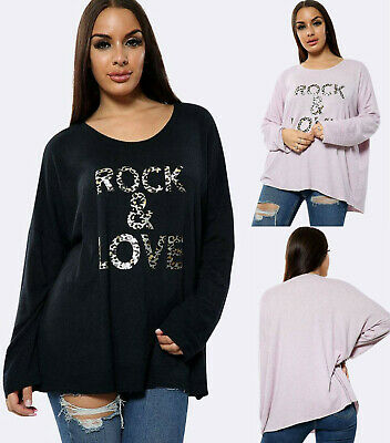 Womens Long Sleeve Knit Jumper Sweater Ladies Casual Oversized Baggy Blouse Tops • 14.99£