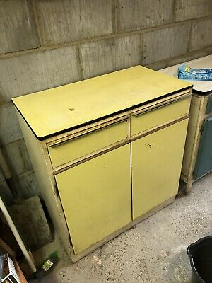 VINTAGE KITCHEN CABINET UNIT 1950s / 1960s RETRO YELLOW PERFECT FOR UPCYCLE • 49£