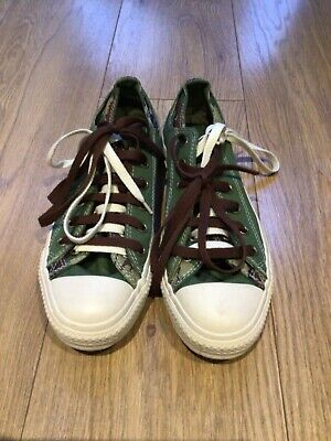 Converse All Star Low Tops Green White Camouflage Size 8 Mens • 22.99£