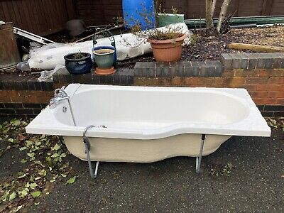 White P-Shaped Bath Tub With Shower Mixer Tap And Plastic Panel (170cm X 80cm) • 50£