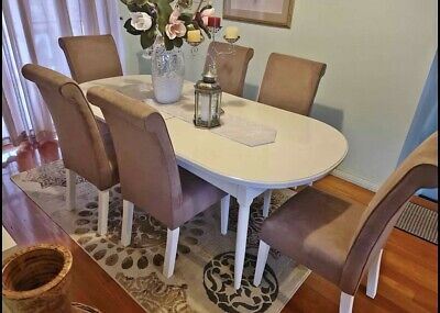 AU100 • Buy $100 For 6 Dining Chairs. French Provincial Style. Neutral Colour. Comfortable!