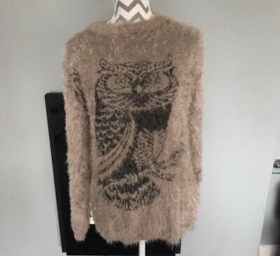 Brown Furry Owl Long Sleeve Jumper. Unbranded  Best Fit A M • 2£