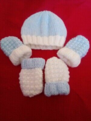 Hand Knitted Blue & White Baby Beanie Hat & 2 Sets Mittens 0-3 Months • 1.50£
