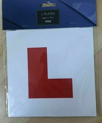 2 X FULLY MAGNETIC L PLATES SECURE Quick Easy To Fix Learner Sign • 2.95£