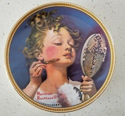 "$ CDN21.68 • Buy Knowles NORMAN ROCKWELL Plate ""Making Believe In The Mirror"" - Free USA Shipping"