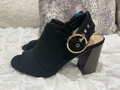 Womens Black Peep Toe High Heel Shoes Uk 6 Brand New With Tags • 7£