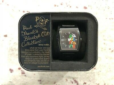 Paul Frank: What Time Is It? Leather Watch In Black / Original Tin And Booklet • 24.99£