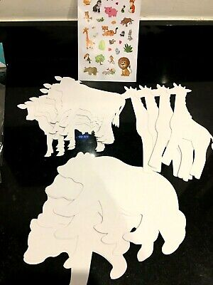 £3.39 • Buy Paper Shapes Card & Stickers BOY/GIRL Animal Cars Masks Art Craft Paint Creative