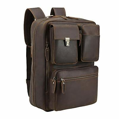 Vints Leather Laptop Backpack Convertible Into Briefcase Handmade Business • 159.44£