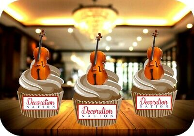 £2.99 • Buy Cello 12 Edible STANDUP Cake Toppers Decoration Birthday Music Instrument Notes