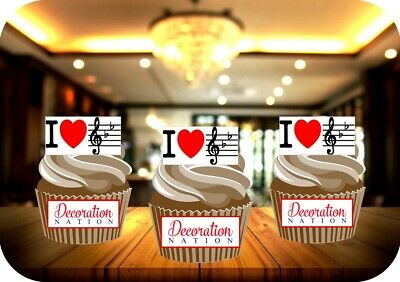 £2.99 • Buy Music Treble Clef 12 Edible STANDUP Cake Toppers Decoration Birthday Notes Fun
