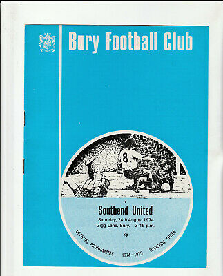 BURY V SOUTHEND UNITED Football Programme 24 August 1974 - Division 3 • 2.99£