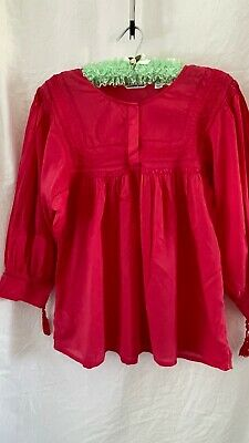 AU14 • Buy Country Road Size L 14 Peasant Blouse Shirt Hot Pink Cotton