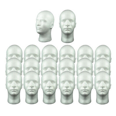 £39.73 • Buy 20x Polystyrene Male Mannequin Head, Holder For Wigs, Hats,