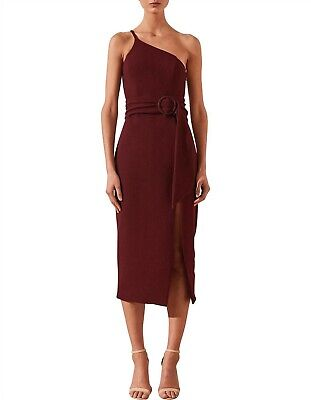 AU50.99 • Buy Shona Joy Andrea One Shoulder Fitted Midi Red Dress With Belt Size 8