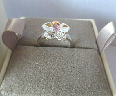 Clogau Gold, Silver & Rose Gold Pink Sapphire Orchid Ring Size L RRP £169 • 58£