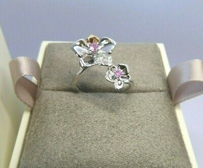Clogau Gold, Silver & Rose Gold Pink Sapphire Orchid Ring Size N 1/2 RRP £199 • 68£